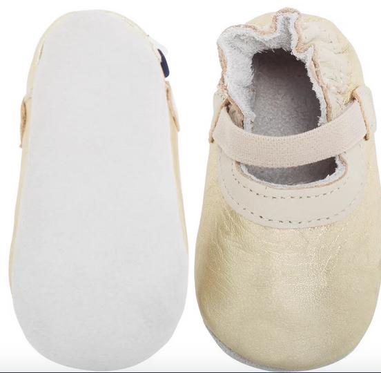 Sapato Mary Jane Ouro