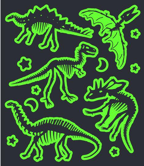 Tatuagem Brilha No Escuro Dinossauros