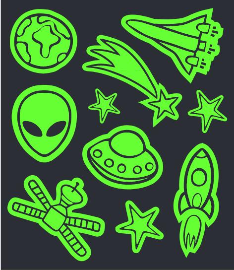 Tatuagem Brilha No Escuro Espaço Alien