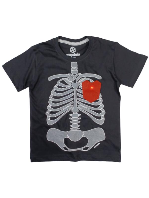 Camiseta Esqueleto Com Led